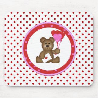 Mousepad Urso bonito com os balões dos namorados e do