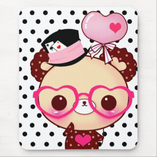 Mousepad Urso bonito do chocolate com vidros cor-de-rosa