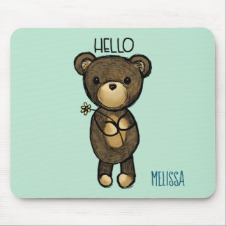 Mousepad Urso de Brown bonito com a flor amarela