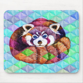 Mousepad Urso de panda vermelha no cubism de turquesa