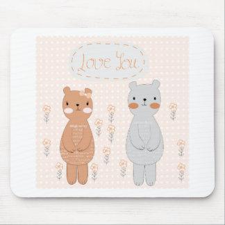 Mousepad Urso de ursinho bonito do casal dos namorados dos