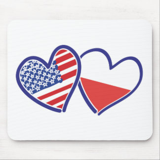 MOUSEPAD USA-POLISH-FLAG-HEARTS