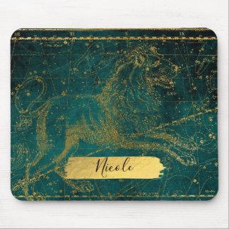 Mousepad Verde astrológico celestial do leão de LEO do mapa