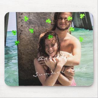 Mousepad Verde do trevo dos confetes do viagem do nome da