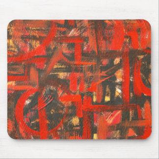 Mousepad Vermelho-Mão rústica Brushstrokes abstratos