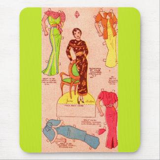 Mousepad vestidos bonitos de papel de Jane Arden da boneca
