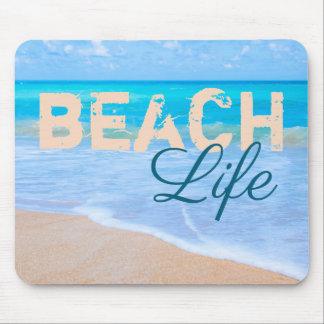 Mousepad Vida da praia. Mar lindo do aqua e praias