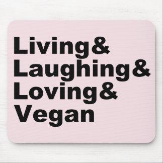 Mousepad Vida e riso e amor e Vegan (preto)