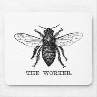 Mousepad Vintage preto e branco da abelha de trabalhador