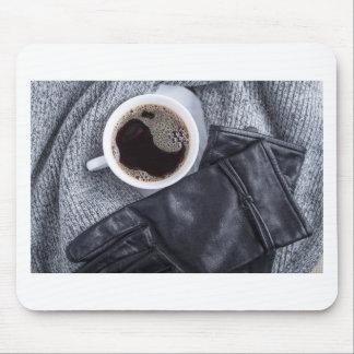 Mousepad Vista superior de um copo branco com café