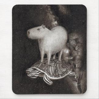 Mousepad Vôo do Capybara e da tartaruga de água doce
