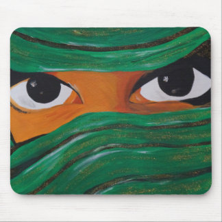 Mousepad Woman dark Veiled em green