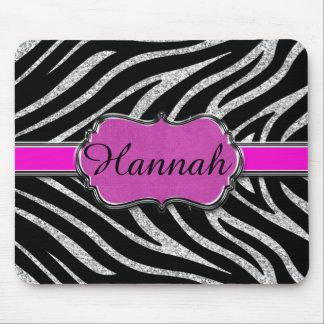 Mousepad Zebra de prata cor-de-rosa preta do brilho