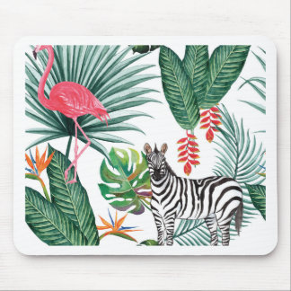 Mousepad Zebra e flamingo tropicais da cópia da aguarela