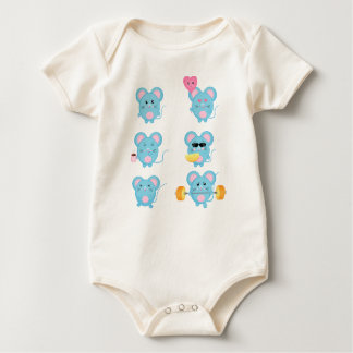 Mouses engraçado na ação para o bebê body para bebê