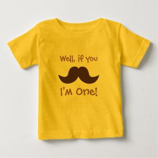 Moustache bonito, eu sou um, primeiro aniversário camiseta para bebê