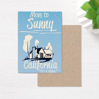 Mova-se para o poster vintage ensolarado de cartão de visitas