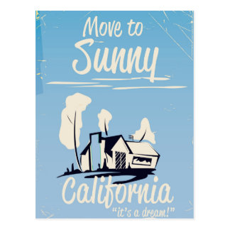 Mova-se para o poster vintage ensolarado de cartão postal