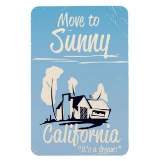 Mova-se para o poster vintage ensolarado de ímã