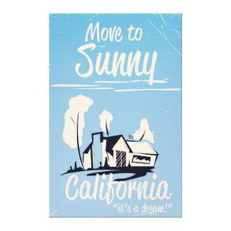 Mova-se para o poster vintage ensolarado de impressão em tela