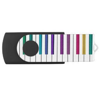 Movimentação colorida do flash de USB da música do Pen Drive Giratório