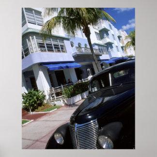 Movimentação do oceano, Miami Beach Florida Pôster