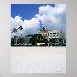 Movimentação do oceano, praia sul de Miam, Miami - Pôster