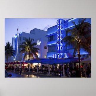 Movimentação do oceano, praia sul, Miami Beach, 2 Poster
