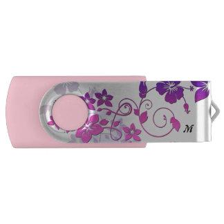 Movimentação floral do flash de USB do giro do Pen Drive Giratório
