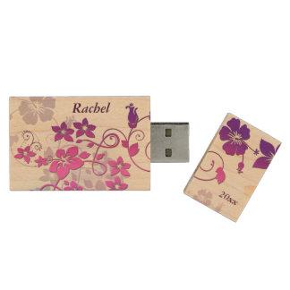 Movimentação floral do flash de USB do monograma Pen Drive De Madeira