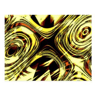 Movimento ousado - abstrato do amarelo e do preto cartão postal