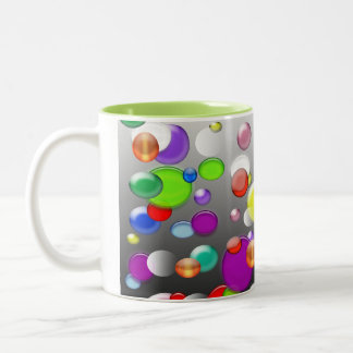 Mub colorido do café da ilustração das bolhas caneca de café em dois tons