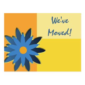 Mudança azul do bloco da cor da flor do cartão de cartao postal