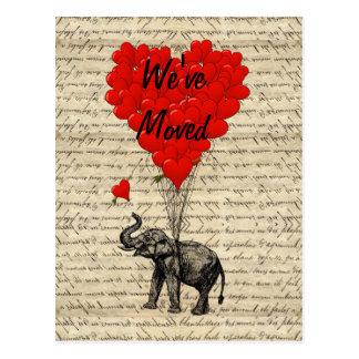 Mudança bonito do elefante do cartão de endereço