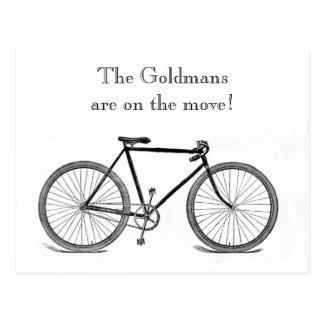 Mudança da bicicleta do vintage de endereço cartão postal