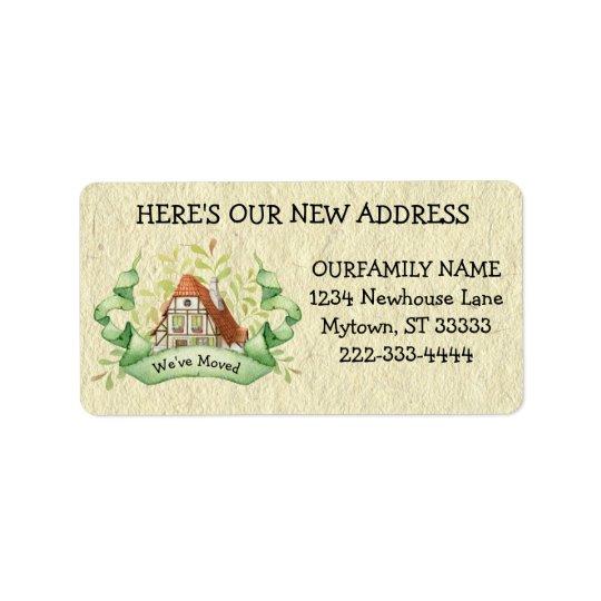 Mudança da casa de campo do vintage da etiqueta de etiqueta de endereço