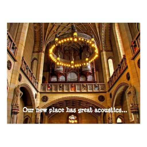 Mudança da catedral de endereço nós movemos cartão cartões postais