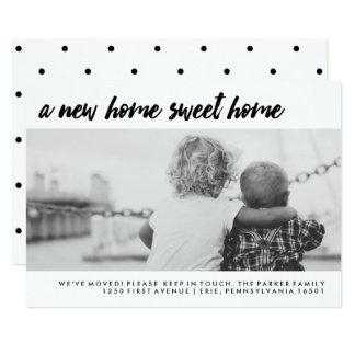 Mudança da foto de família moderna de endereço   convite 12.7 x 17.78cm