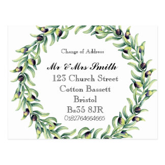 Mudança da grinalda do watercolour de endereço cartão postal