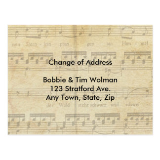 Mudança da partitura do cartão de endereço cartão postal