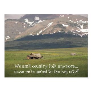 Mudança da população rural de endereço cartão postal