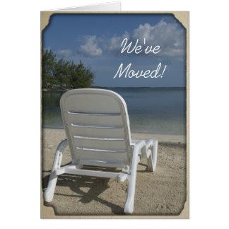Mudança da sala de estar da praia de endereço cartão comemorativo