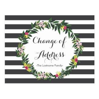 Mudança da selva de endereço floral cartão postal