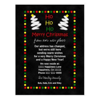 Mudança de árvores de Natal do quadro de endereço Cartão Postal