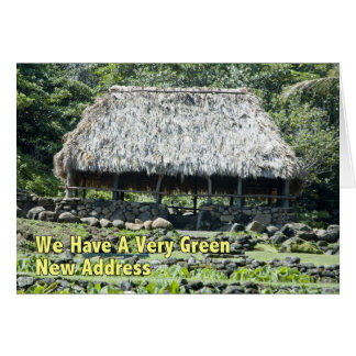 Mudança de endereço engraçada - cabana polinésia cartão comemorativo