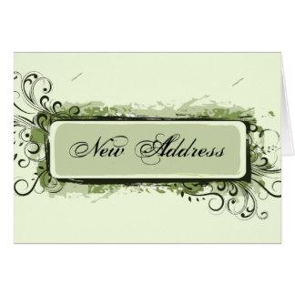 Mudança de endereço floral abstrata verde cartão de nota