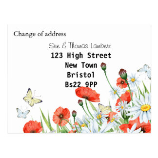 Mudança de endereço floral cartão postal