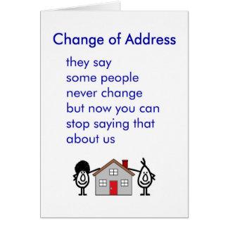 Mudança de endereço - uma mudança engraçada do cartão comemorativo