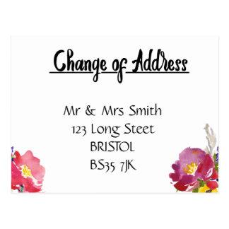 Mudança de floral elegante do cartão de endereço