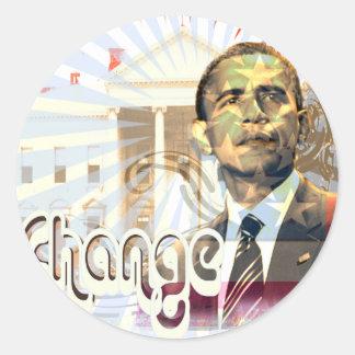 Mudança de Obama - Adesivo Redondo